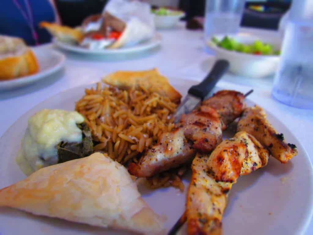 The Shish Kabob plate is filled with delicious treats.