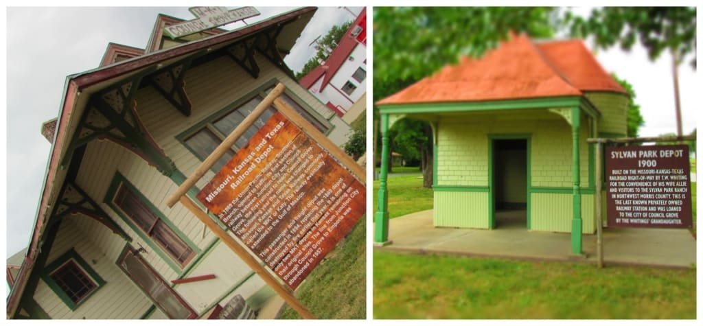 Two train depots can be found in a park in downtown Council Grove, Kansas.