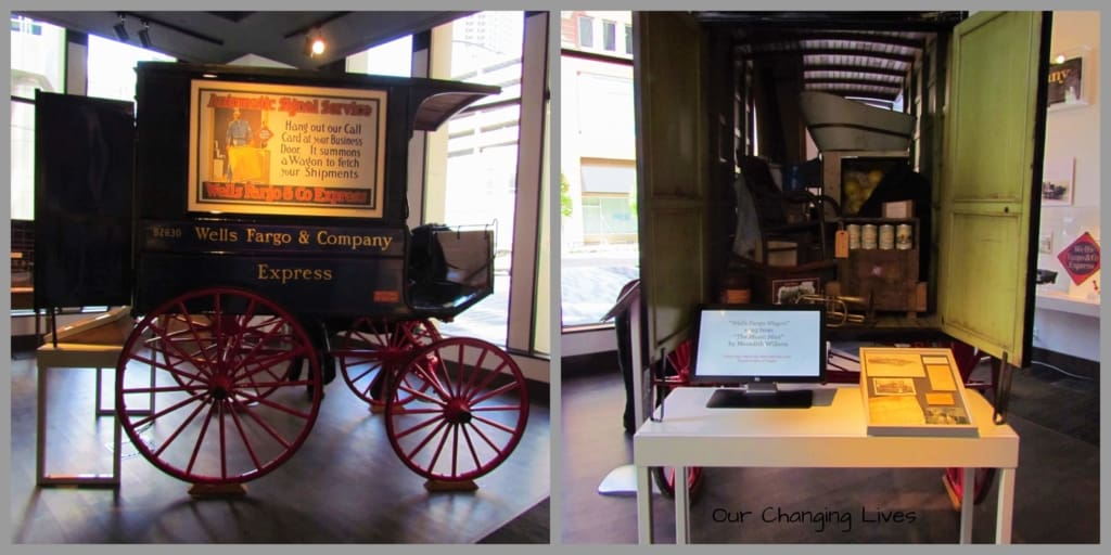 A replica of the Wells Fargo wagon used in the movie The Music Man can be seen at the Wells Fargo Museum in Des Moines, Iowa.