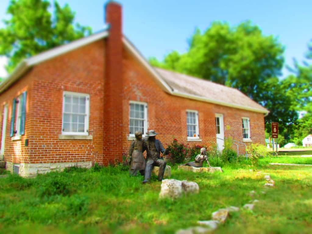 Bronze statues grace the landscape of the Seth Hays' House in Council Grove.