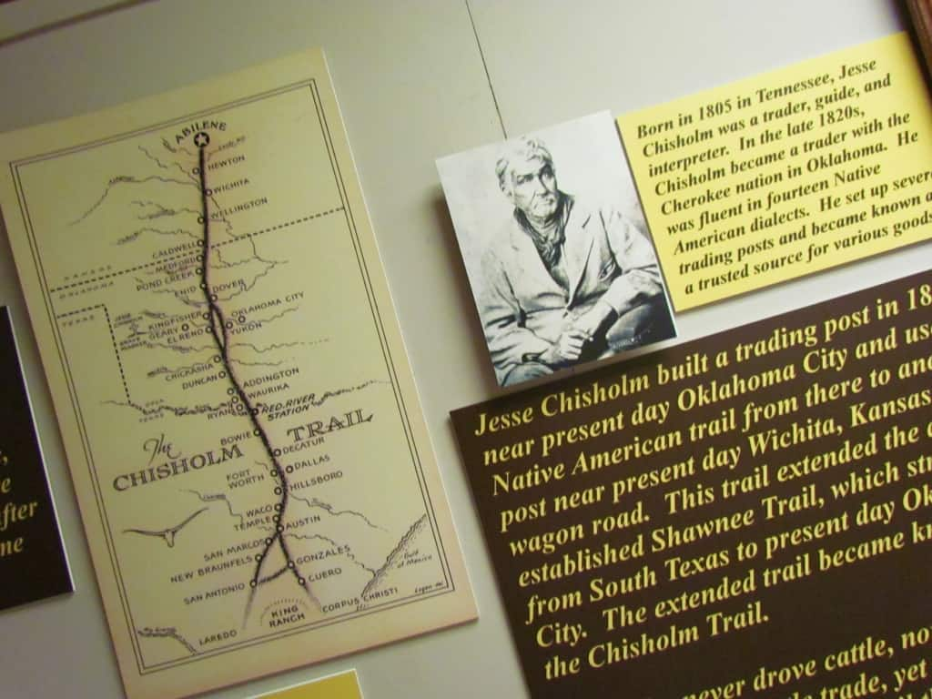 Jesse Chisholm helped build up the cattle drive business that brought herds from Texas to Abilene, Kansas.