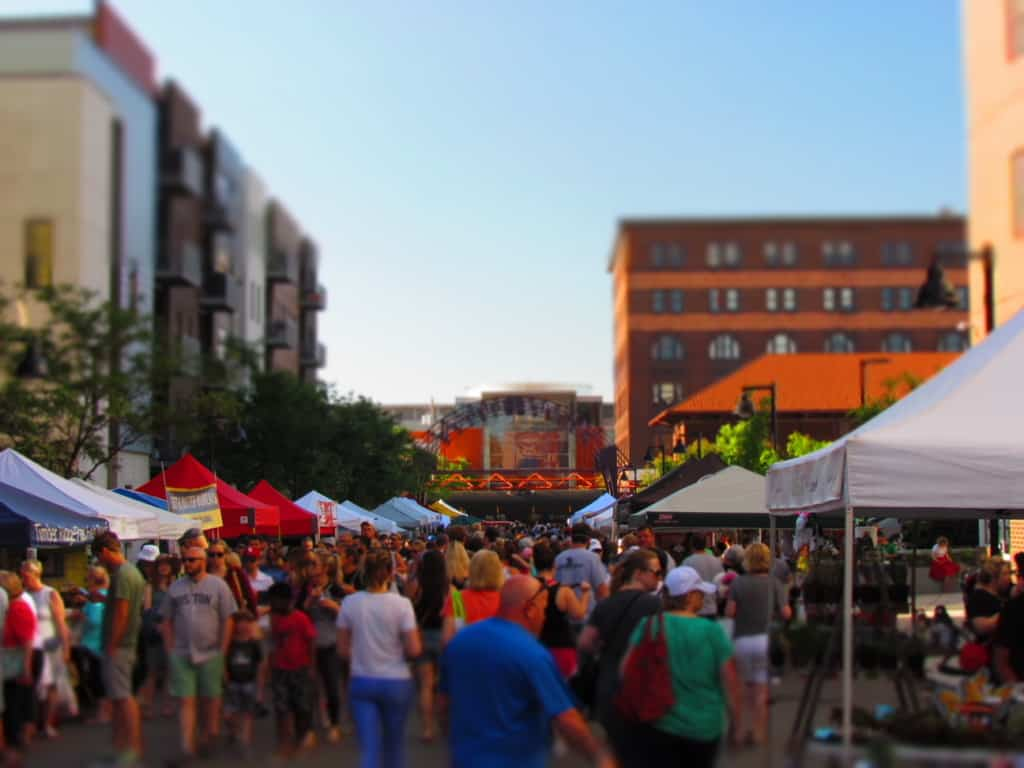 The Des Moines farmers market covers a lot of space in the downtown.