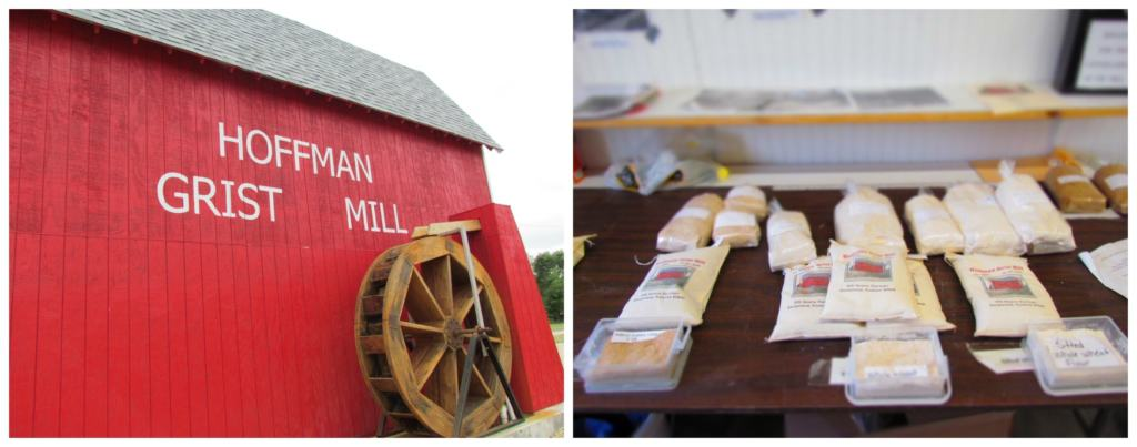 The Hoffman Grist Mill is a working flour mill where visitors can purchase products made on site.