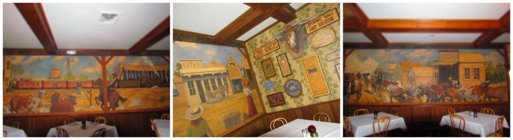 Some of the dining rooms have large murals painted on the walls.