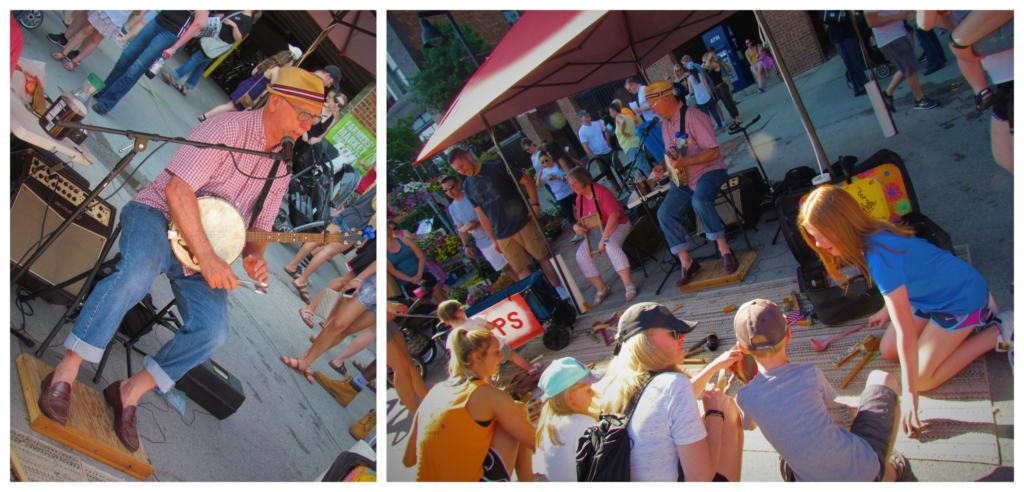 Music engages the crowd at the farmers market.