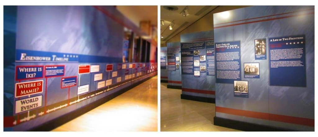 The timeline of Ike and mamie's lives is laid out in the temporary exhibit.