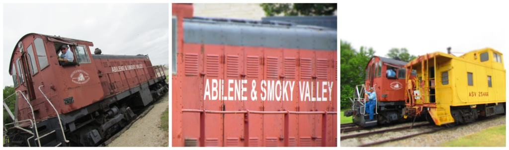 Pictures of the Abilene and Smoky Valley engine and caboose.