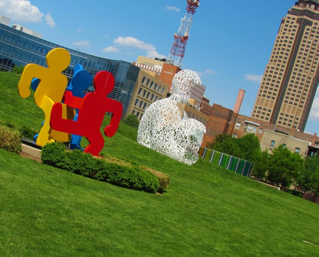 The Pappajohn Sculpture Garden is free to visitors.