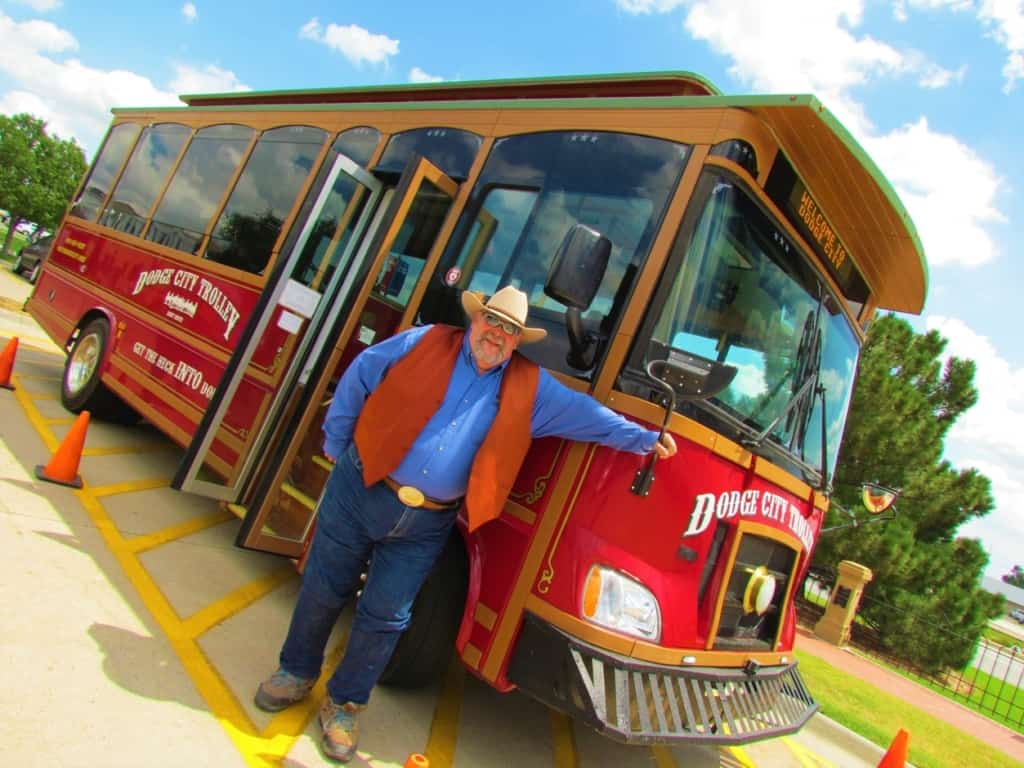 The Dodge City Trolley offers inside information about the growth of the city.