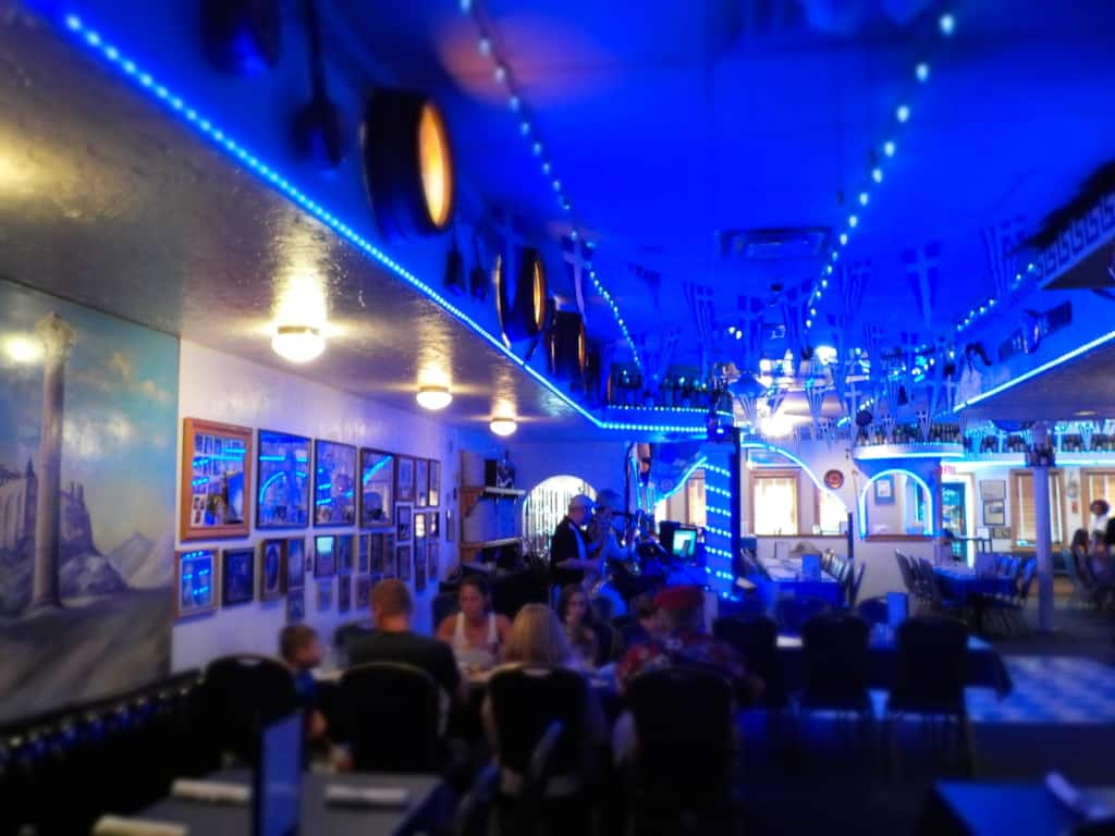 The interior of Tasso's Greek Restaurant has lots of seating capacity.