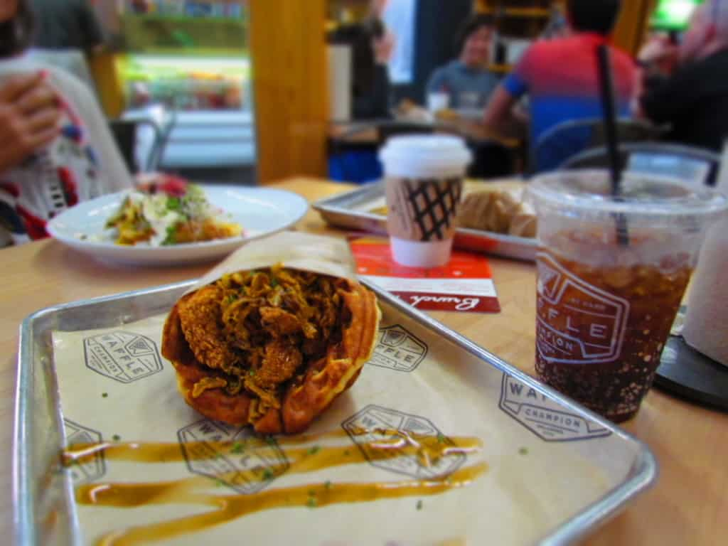 The Chicken and Waffle has a nice kick, but still a sweet ending to the flavors.