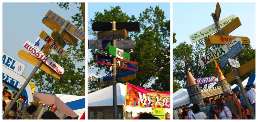 Signs mark the various countries found at the festival.