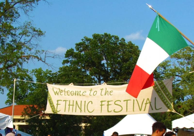 The welcome sign at the entrance to the Kansas City Ethnic Festival.