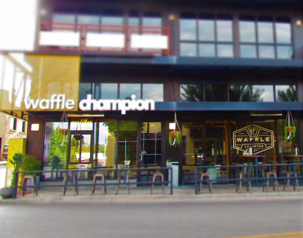 The outside of Waffle Champion doesn't show the delicious dishes held inside.