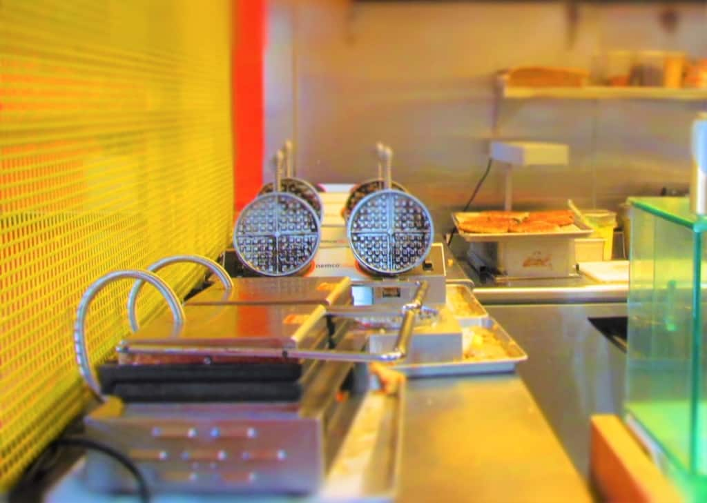 The waffle irons stand ready for use at Waffle Champion in Oklahoma City.