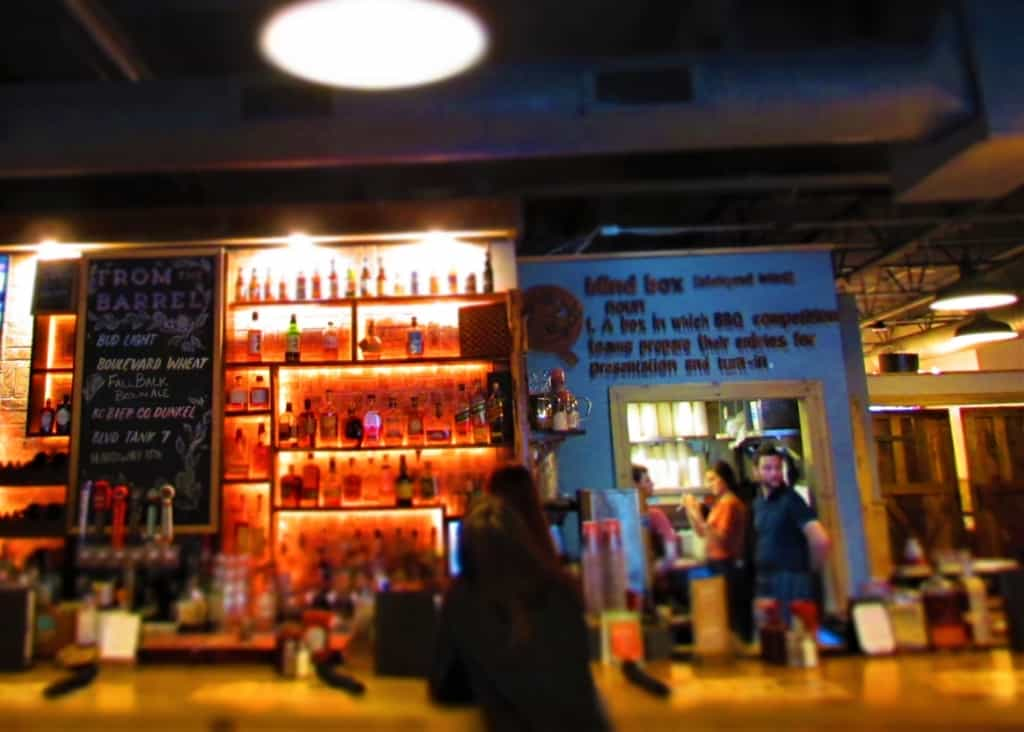 The bar area at Blind Box BBQ holds all of the necessary ingredients for some wonderful cocktails.