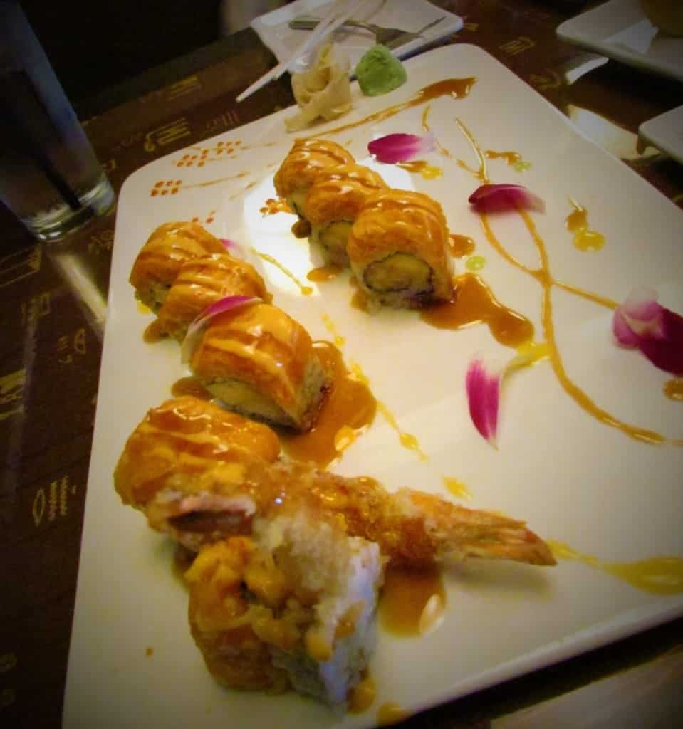 The Oishi Roll is a spicy and crunchy sushi roll made special for the restaurant customers.