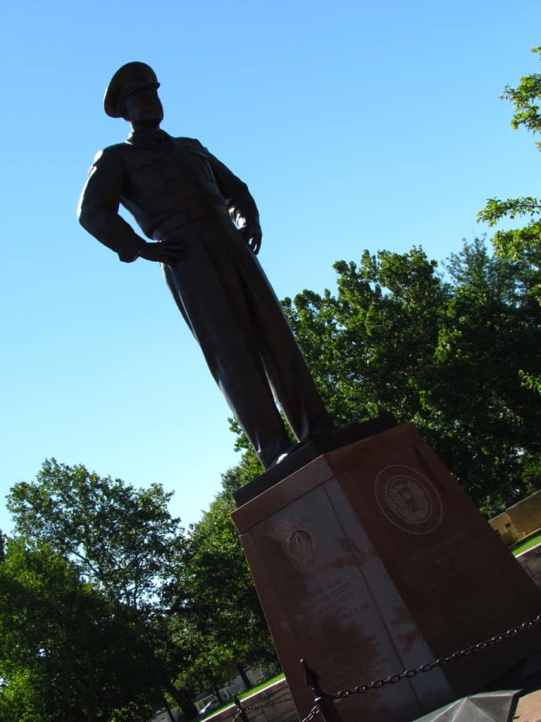 A statue of Eisenhower watches over Abilene, Kansas.