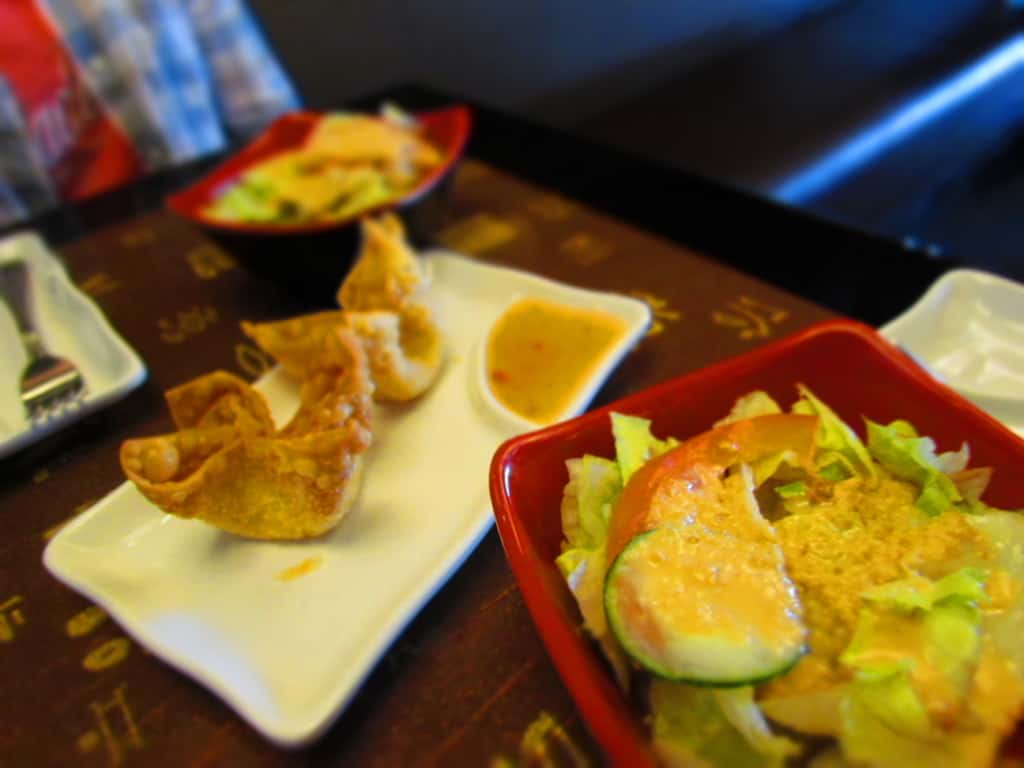 Salad and Crab Rangoon are served with the hibachi meals.