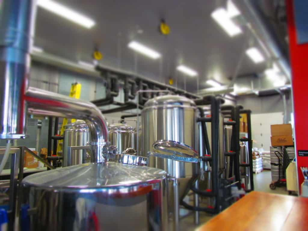 the brewing equipment at Dodge City Brewing sits idle on Saturday.