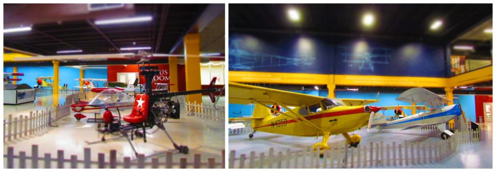 A variety of small airplanes are on display at Science Museum Oklahoma.