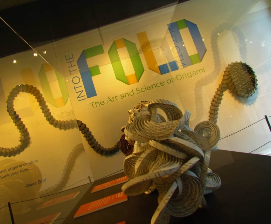 Into The Fold is a temporary exhibit featuring origami pieces.