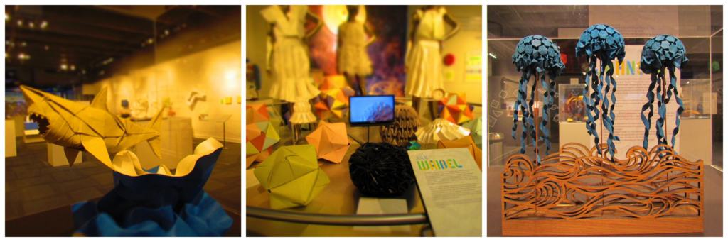 An assortment of origami pieces on display.