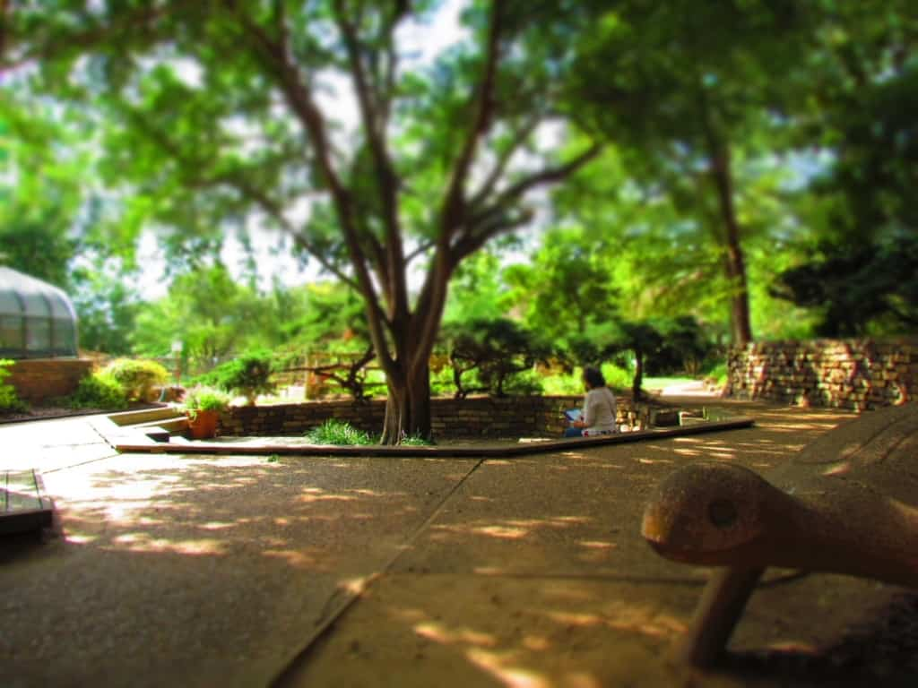 A quiet space in the gardens allows for reflecting on all of the science exhibits.