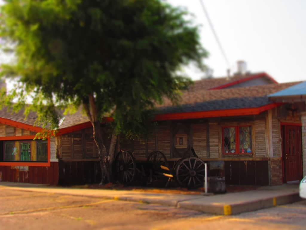 The hacienda style exterior of Casey's Cowtown Steakhouse.