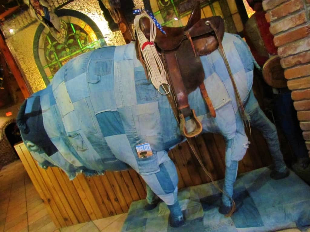 We were welcomed into Casey's Cowtown Club by a blue jean bedecked bison.