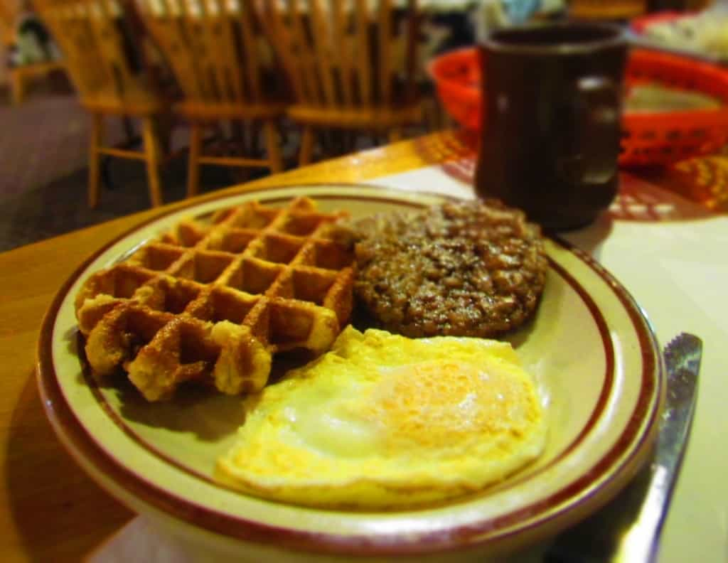 Waffles and eggs give plenty of energy for a day of exploring.