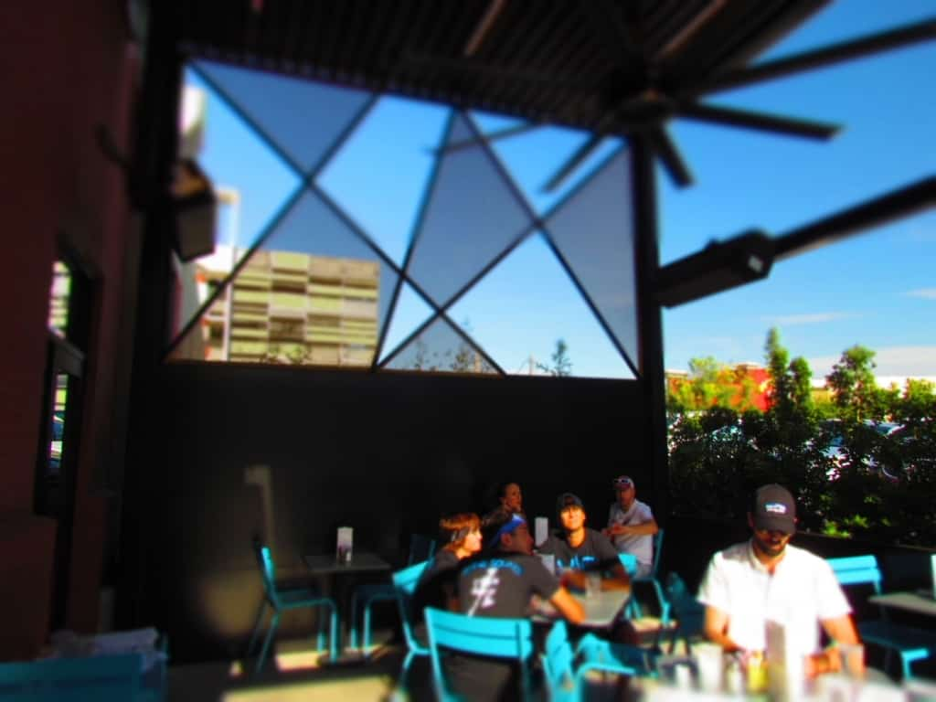 A bright morning meant the outdoor seating was not choice.