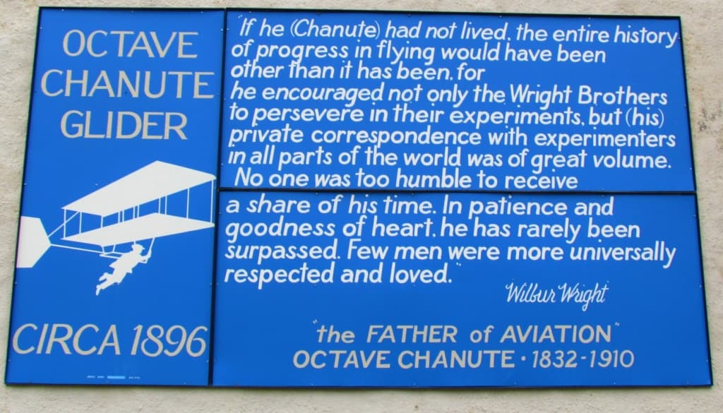 A plaque explains the important role that Chanute played in the development of air travel.