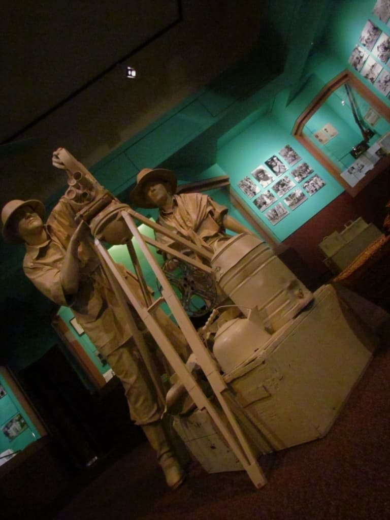 A sculpture of the famous exploring couple reminds visitors of the amount of materials they needed to accomplish their tasks.