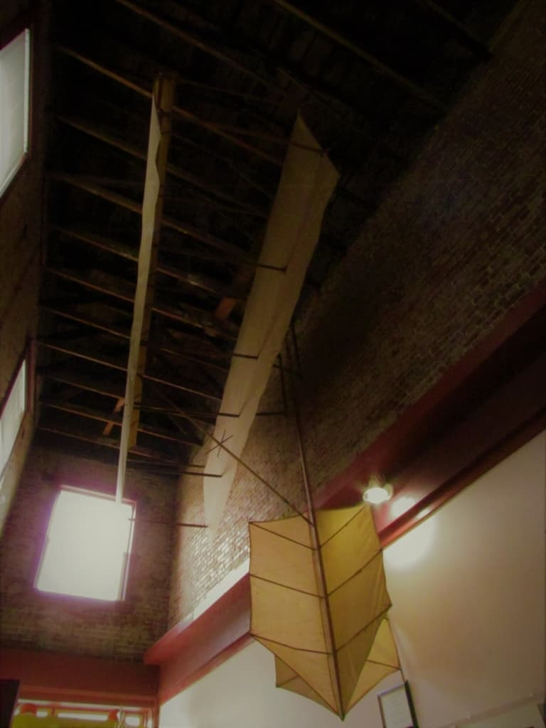 A replica of Chanute's two wing glider construction hangs in the Chanute Historical Society Museum.
