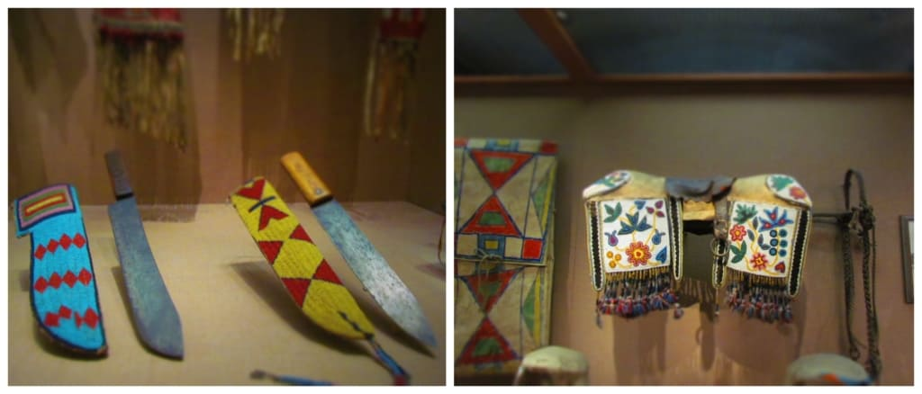 Artifacts from Native Americans show the amazing detail of the beadwork.