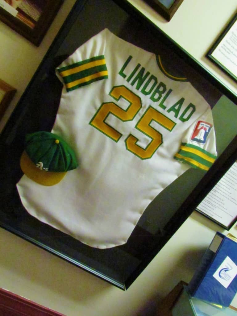 A baseball uniform of Paul Lindblad's can be found in the Chanute Historical Museum.
