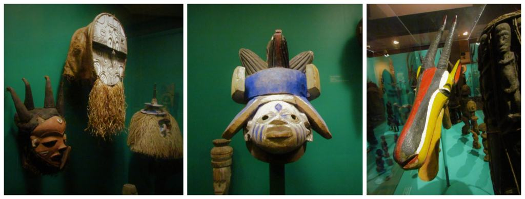 A selection of masks on display at the Safari Museum.