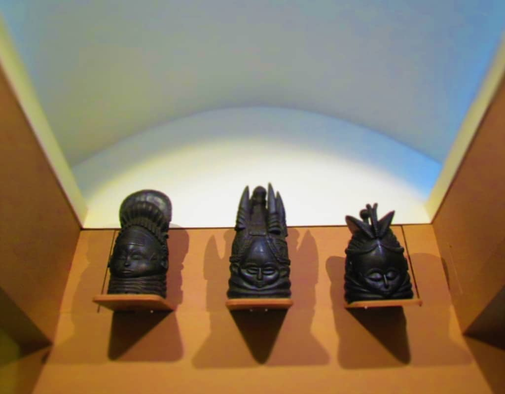 Three of the Mende masks on display in the safari museum.