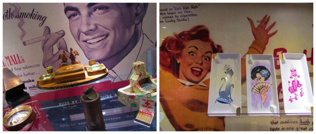 Memorabilia from smoking advertisements were once common place.