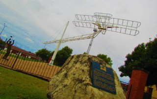 A memorial to the Wright Borthers in found in downtown Chanute, Kansas.