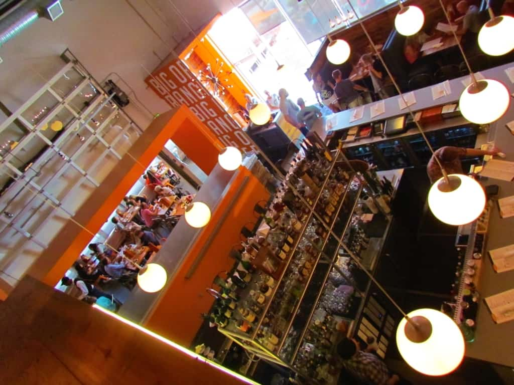 A great view of the bar area is found from the second floor.