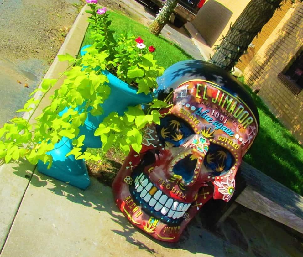 A decorated skull marks the entrance to Iguana Restaurant in Oklahoma City.