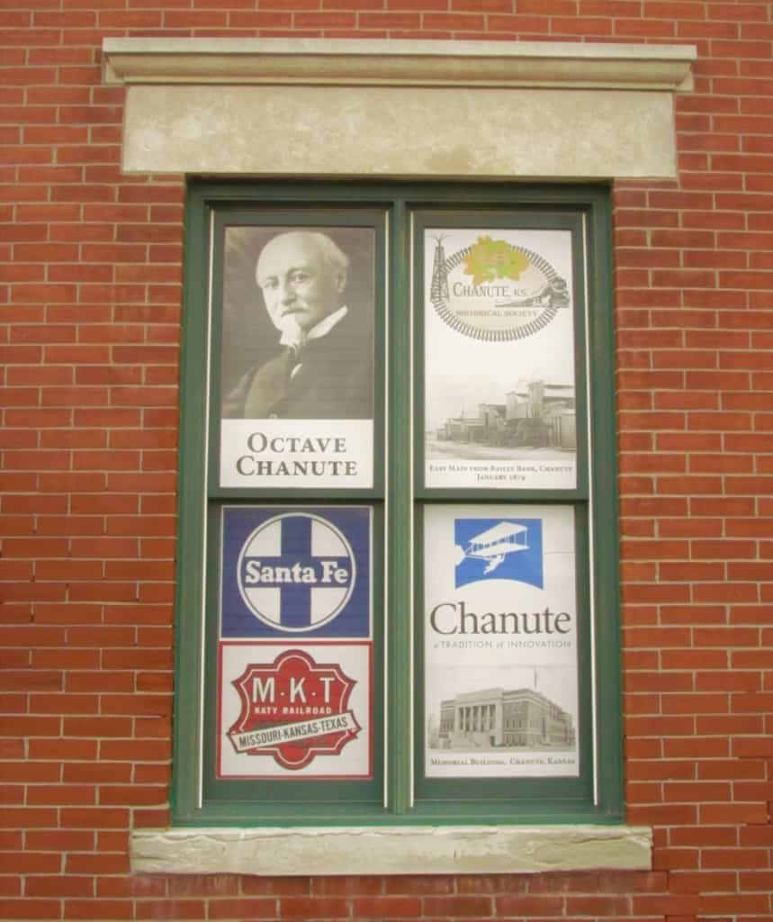A window at the Chanute Historical Society Museum showcases the namesake for the city.