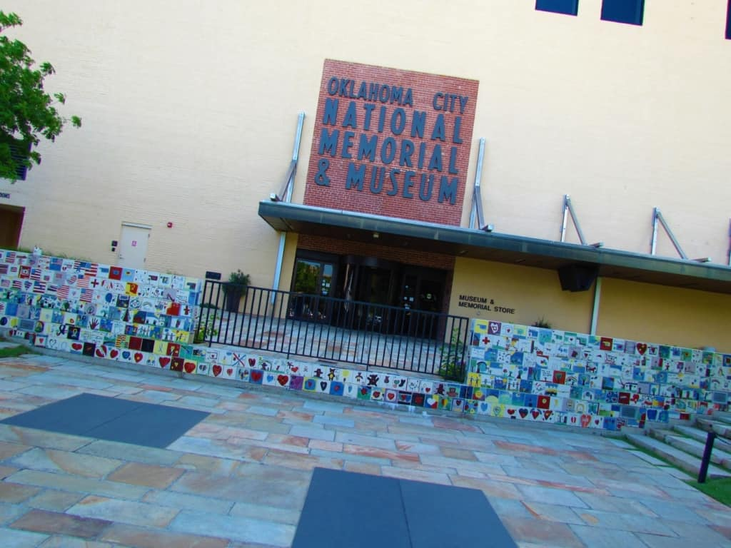 The entrance to the Oklahoma City Memorial and Museum is decorated with hand-painted tiles by children from around the United States.
