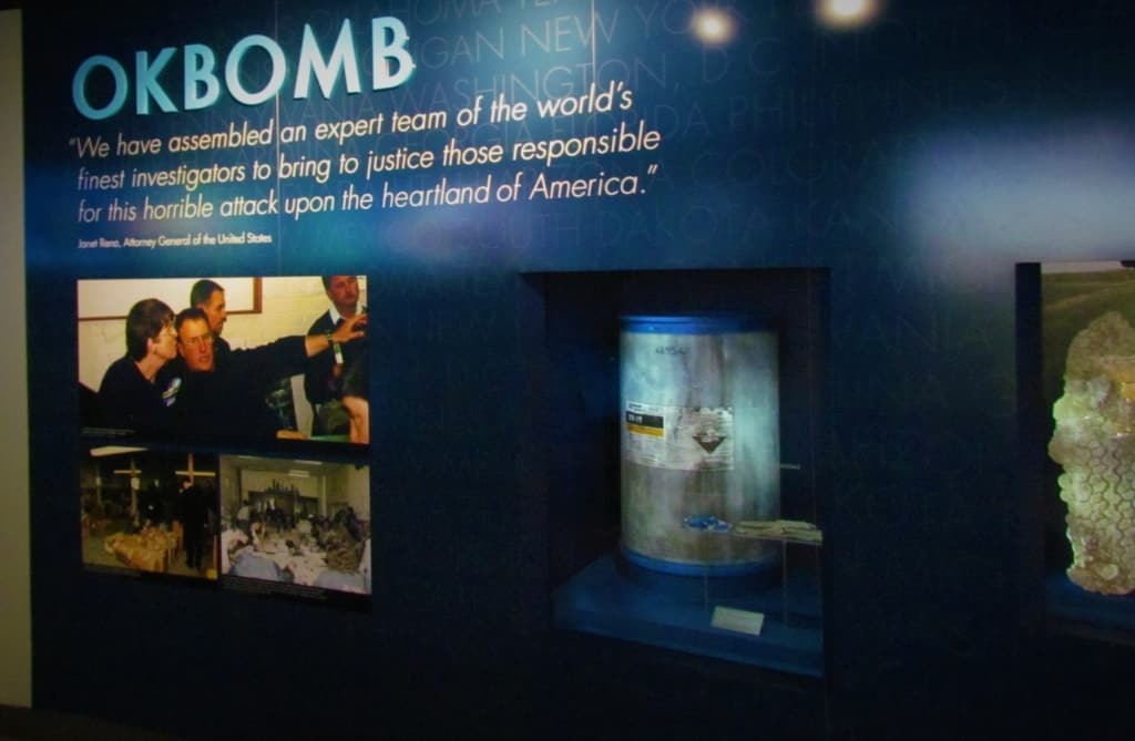 An exhibit details the Oklahoma City bomb.