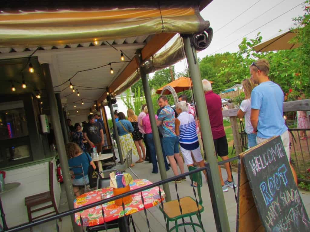 The line at The Root cafe starts forming before the doors open each morning.