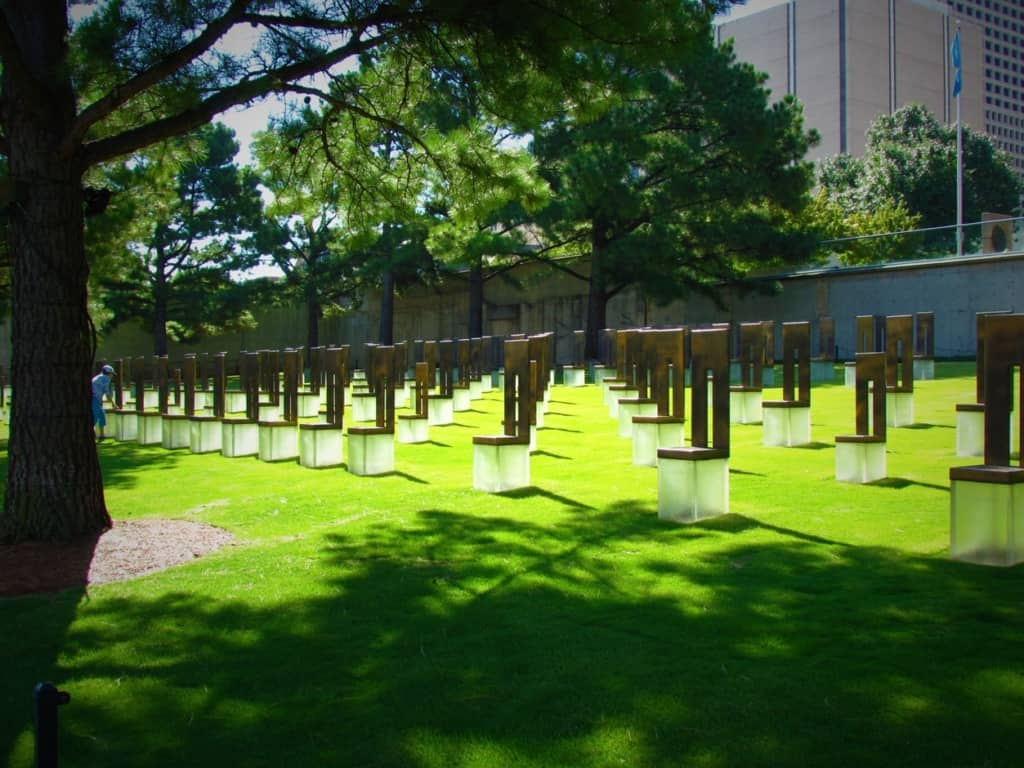 A memorial to the lives that were lost during the Oklahoma City bombing.