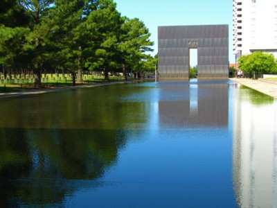 The Memorial courtyard is a place to reflect.