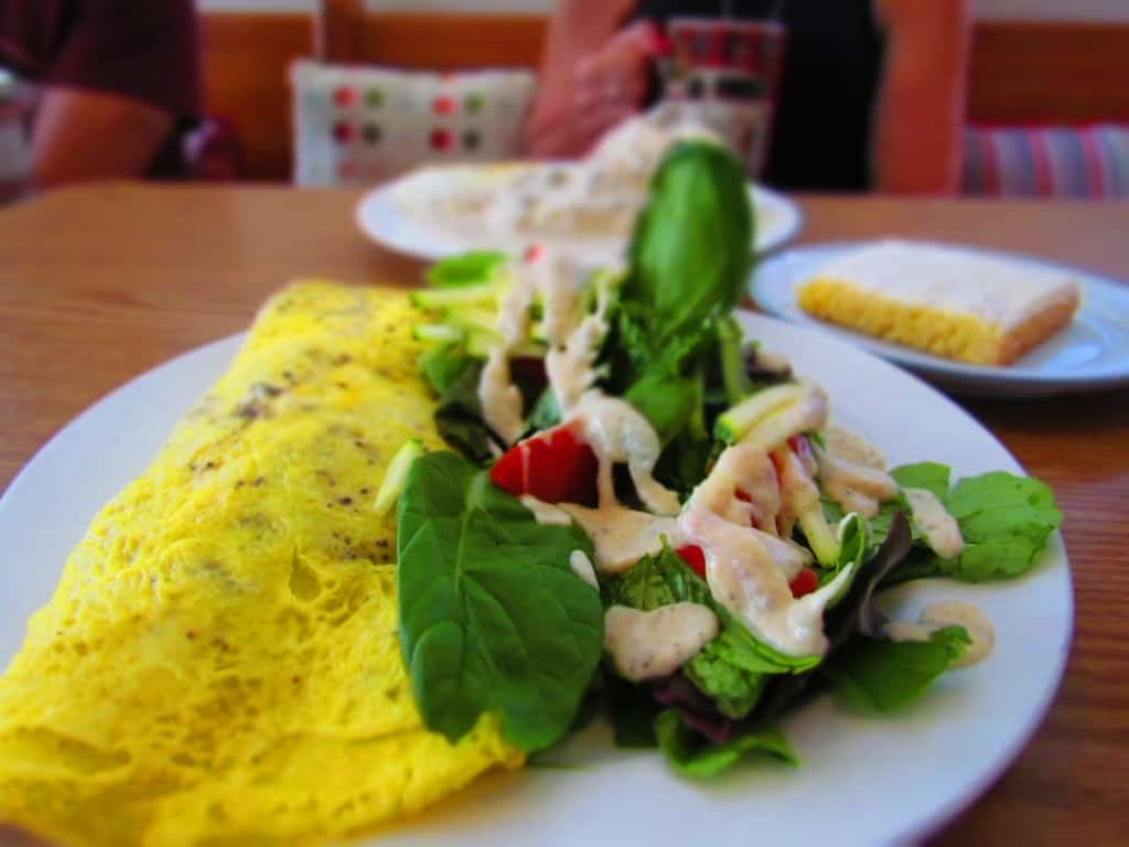 A Vegan Omelet is a healthy choice for a filling breakfast at The Root cafe.